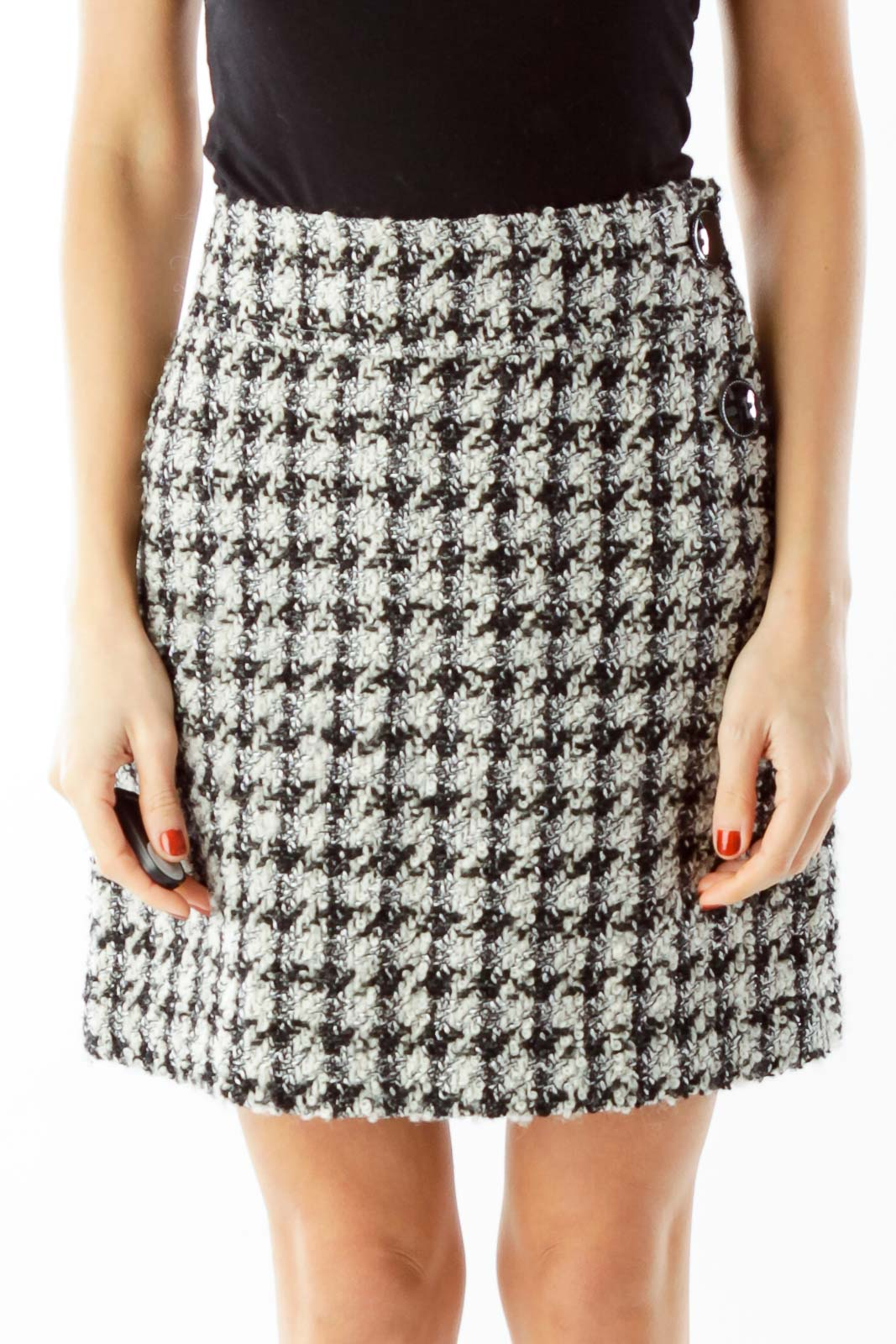 Black White Houndstooth Mini Skirt