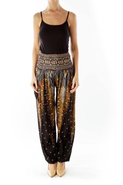 Multicolor Boho Print Tapered Pants