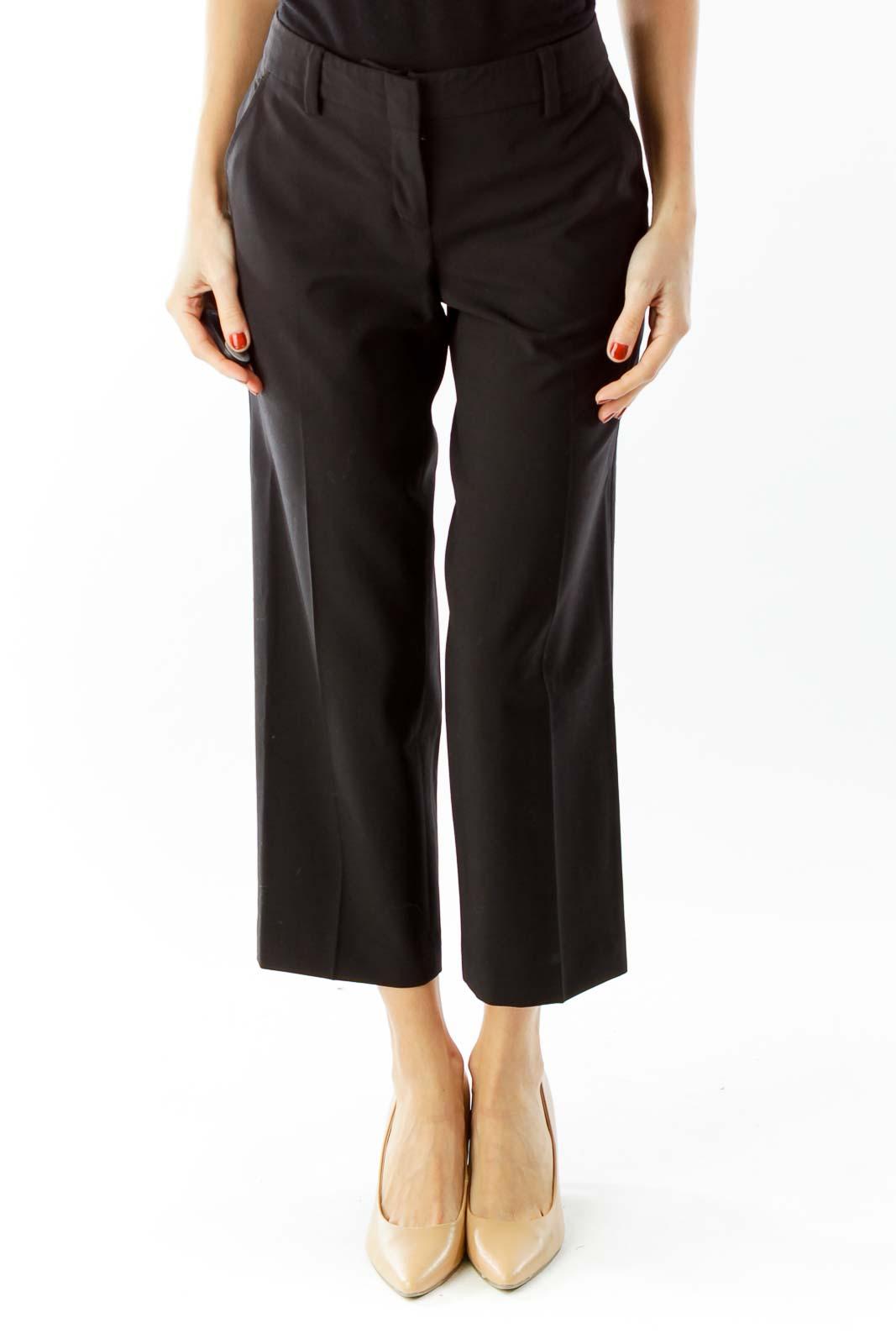Black Cropped Suit Pants