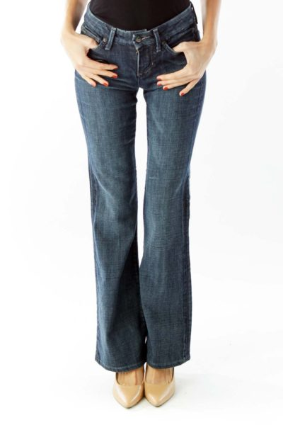 Navy High-Waisted Flared Jeans