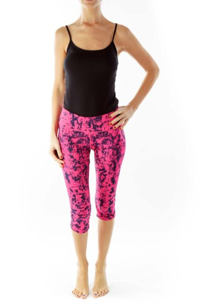 Pink Black Print Cropped Sports Pants