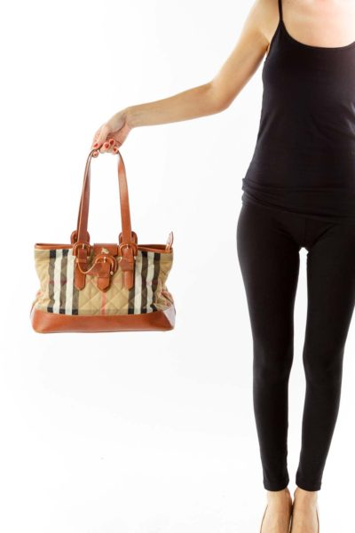 Brown Check-Print Leather Bag