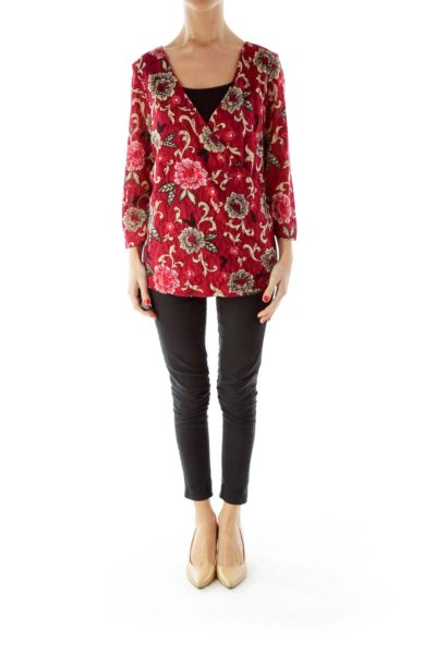 Red Beige Lace Floral Top
