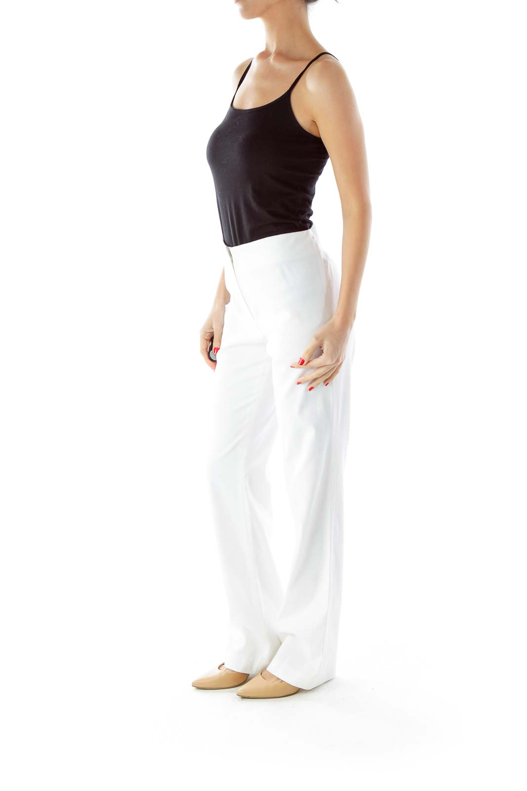 White Textured High-Waisted Pants