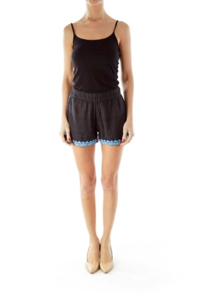 Black Blue White Embroidered Shorts