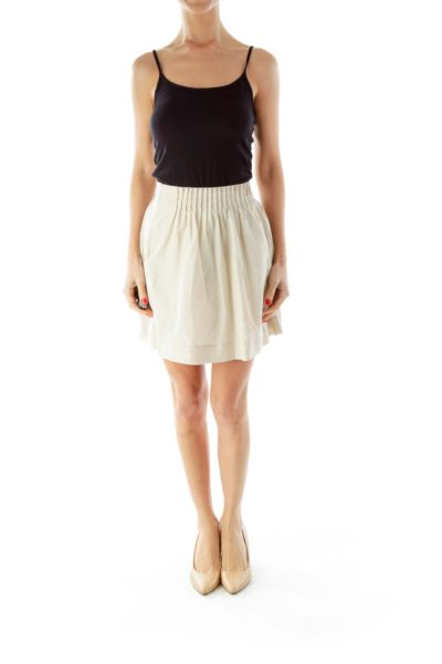 Beige Scrunched Skirt