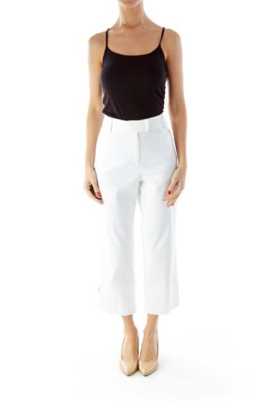 White Textured Cropped Pants