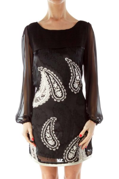 Black Silk Paisley Print Dress