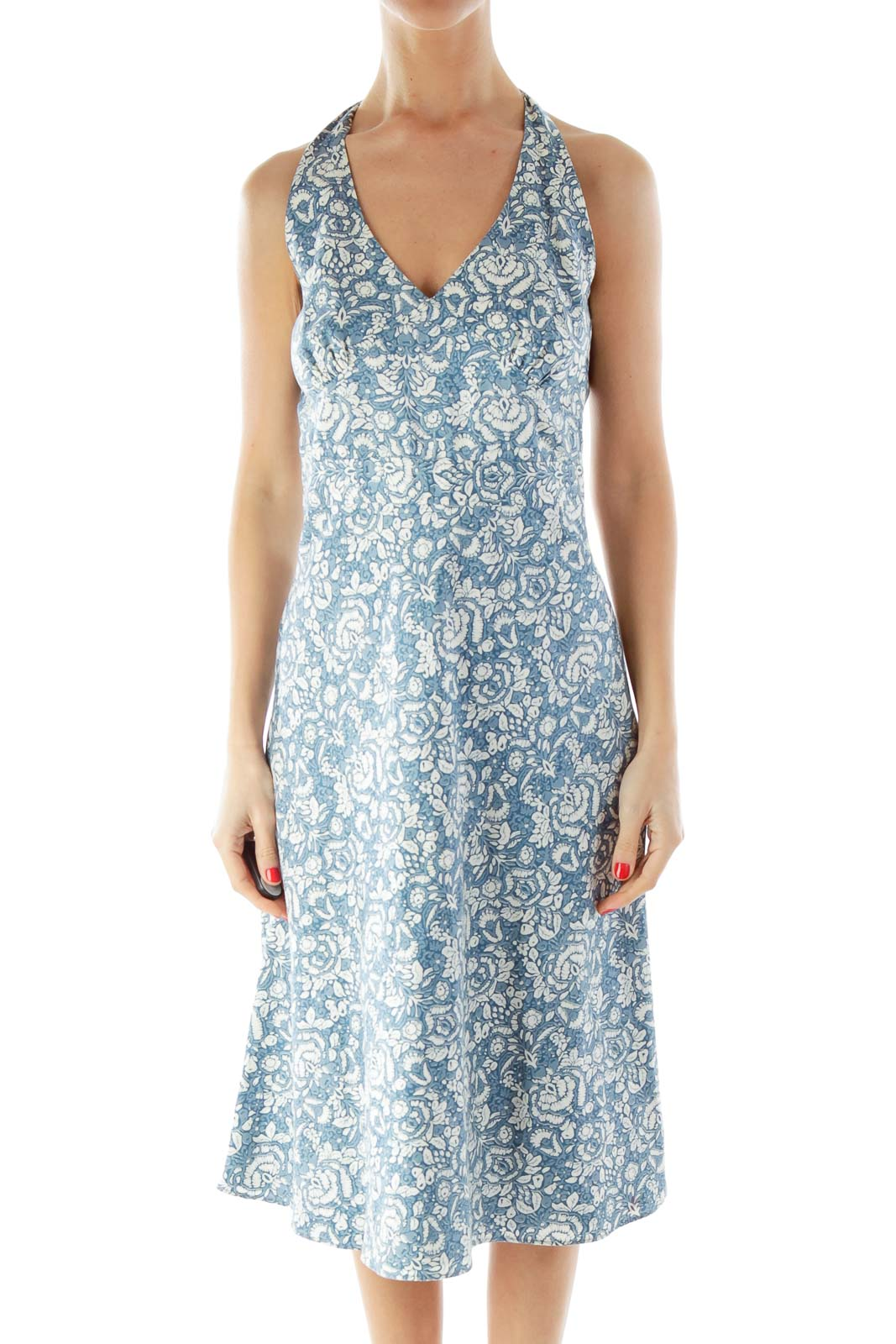 Shop jew clothing and handbags at silkroll trade with us blue white flower print day dress izmirmasajfo