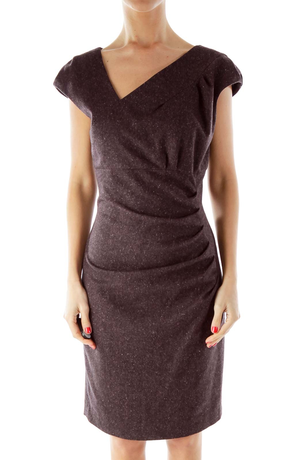 Purple Woven Fitted Dress