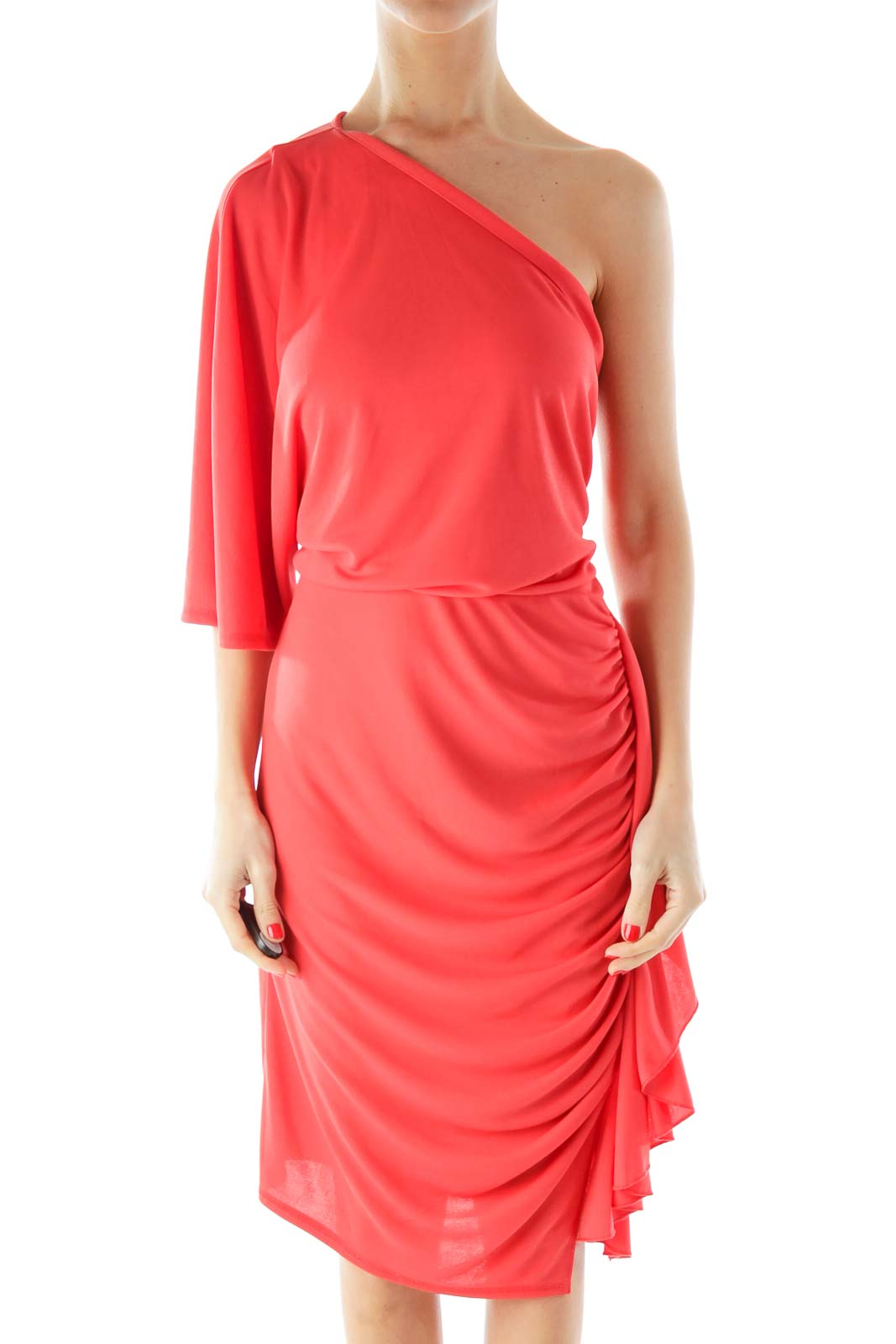 Orange One-Shoulder Cocktail Dress