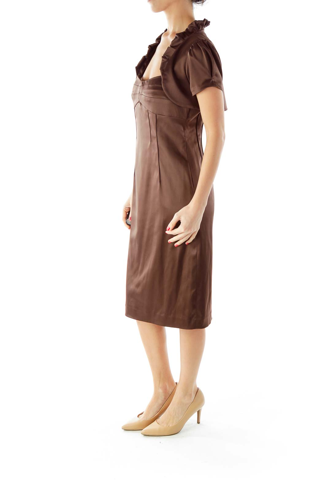 Brown Fitted Dress with Bolero