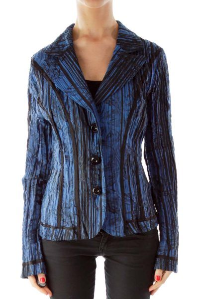 Blue and Black Scrunched Blazer