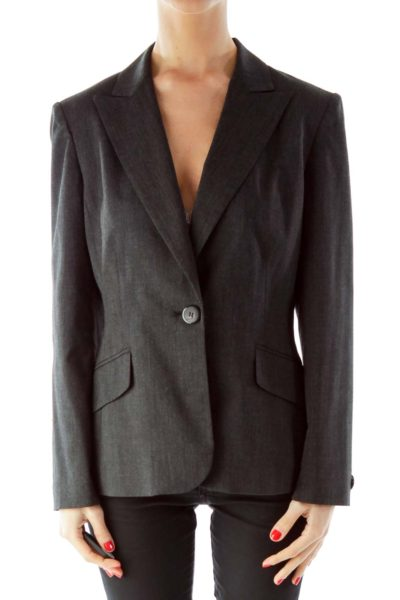 Gray Single Breasted Pocketed Suit Jacket