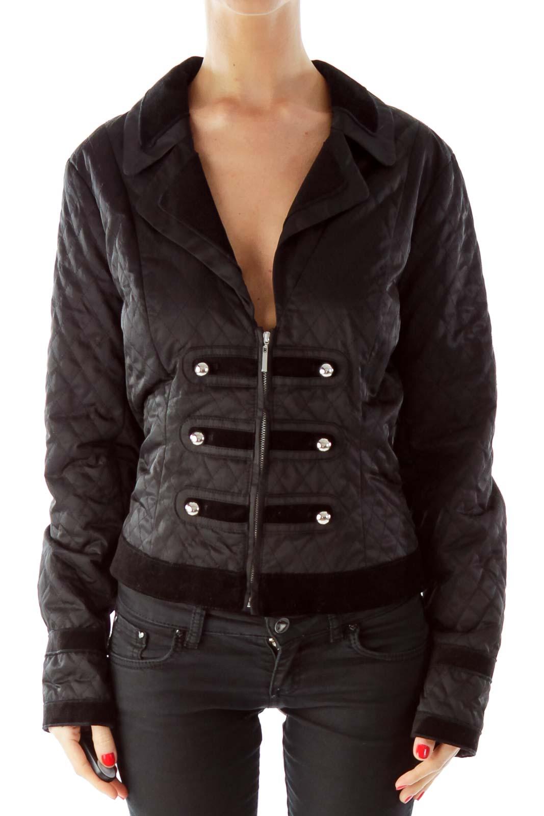 Black Buttoned Velvet Padded Jacket