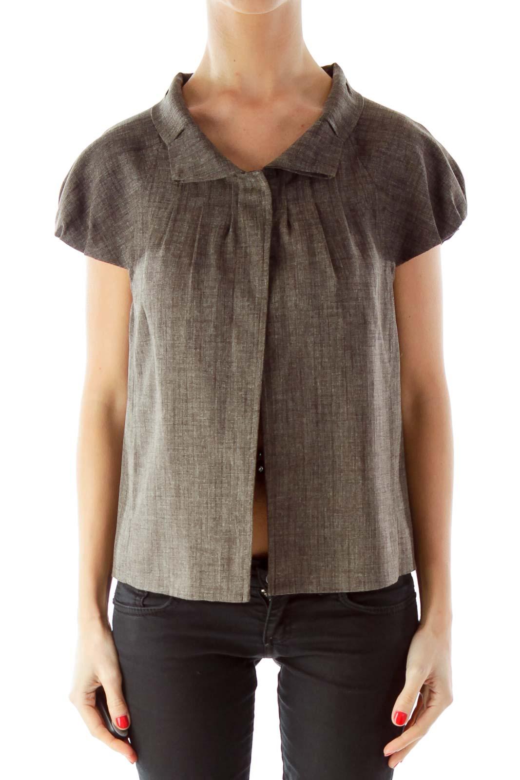 Gray Buttoned Ruffled Short Sleeve Jacket