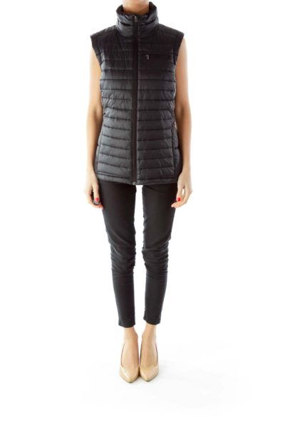 Black Zippered Quilted Vest