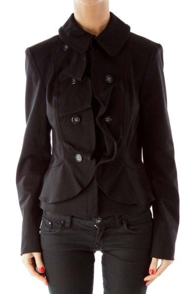 Black Ruffled Blazer