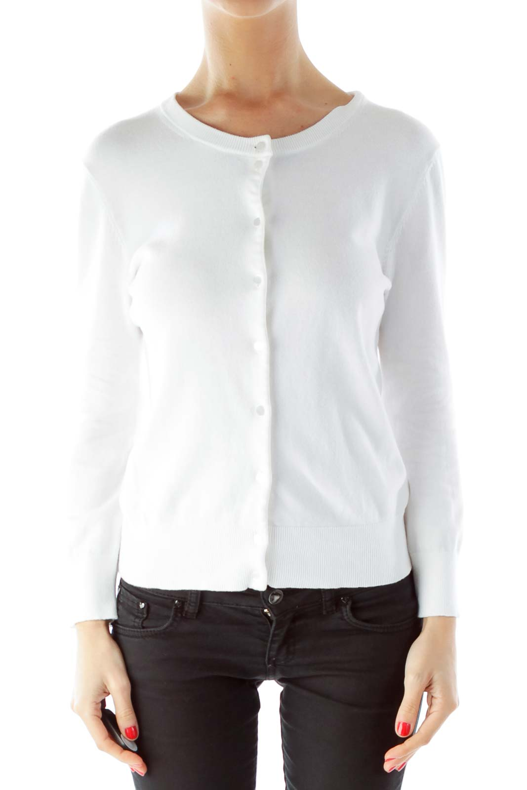 White Buttoned Fitted Round Neck Cardigan