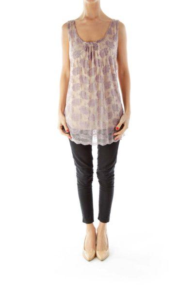 Purple Beige Lace Sleeveless Blouse