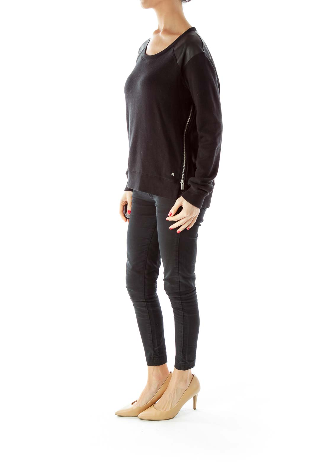 Black Zippered Faux-Leather Patch Long Sleeve T-Shirt