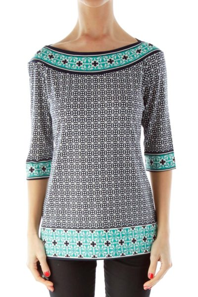 Black White Green Print Three-Quarter Sleeve Blouse