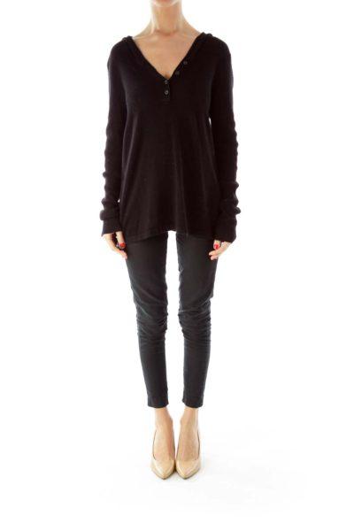 Black Long Hooded Sweater