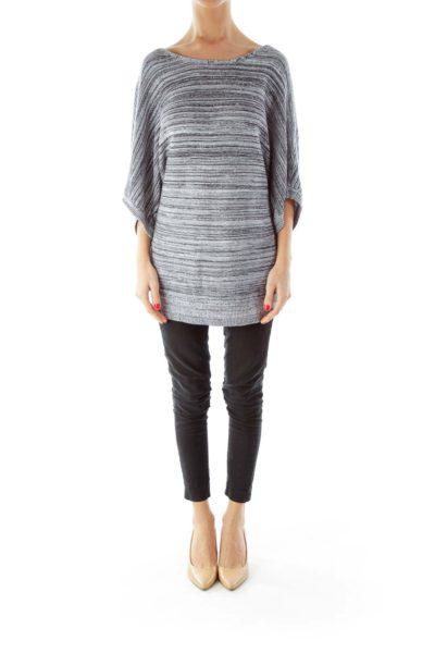 Black White Short Sleeve Knit Top