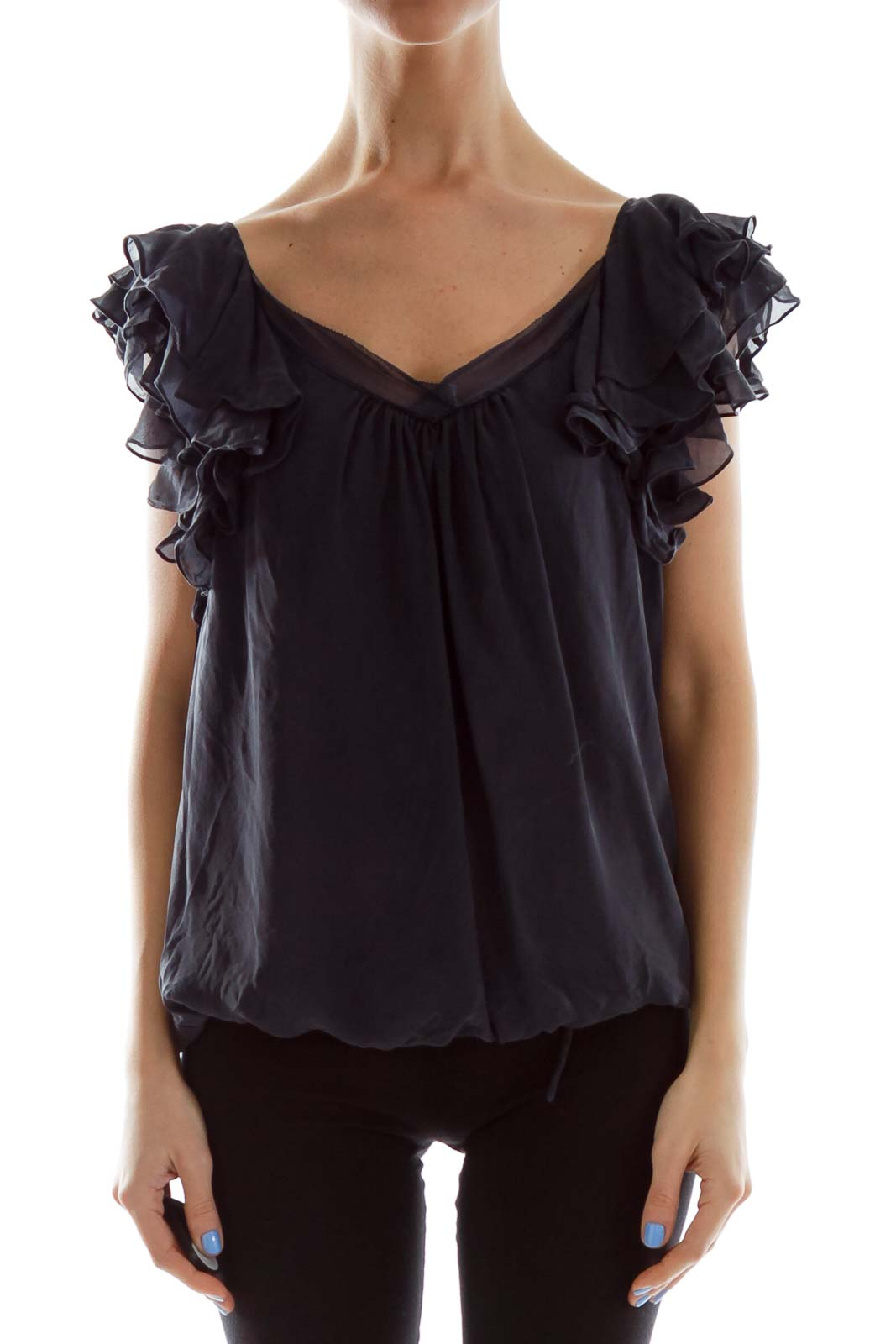 Navy Ruffled Sleeve Blouse
