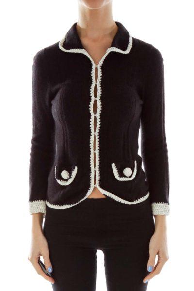 Black White Crocheted Cashmere Sweater