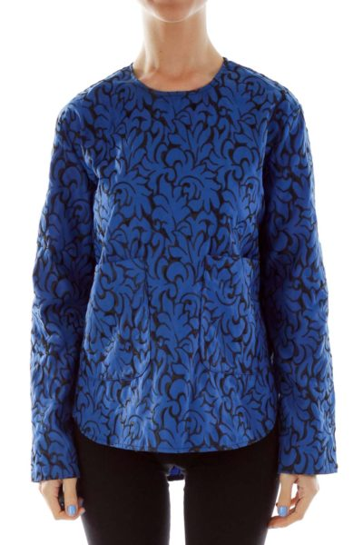 Blue Black Embroidered Pocketed Top