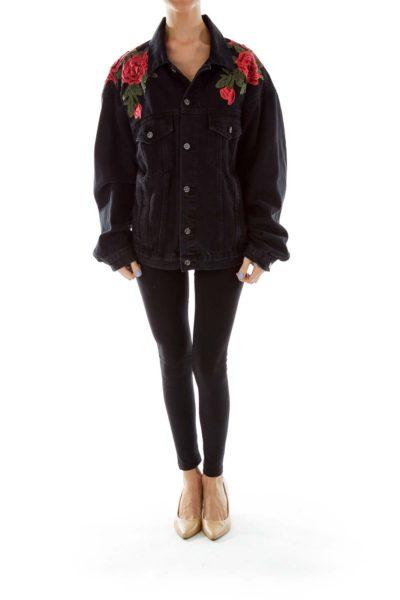Black Embroidered Flower Prink Denim Jacket