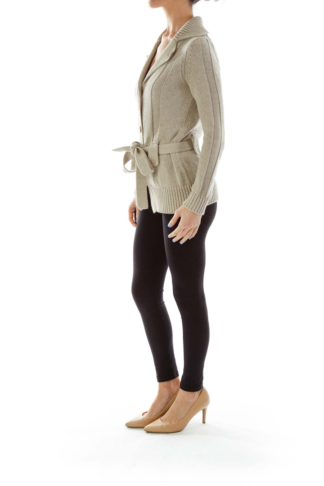 Brown Belted Knit Sweater