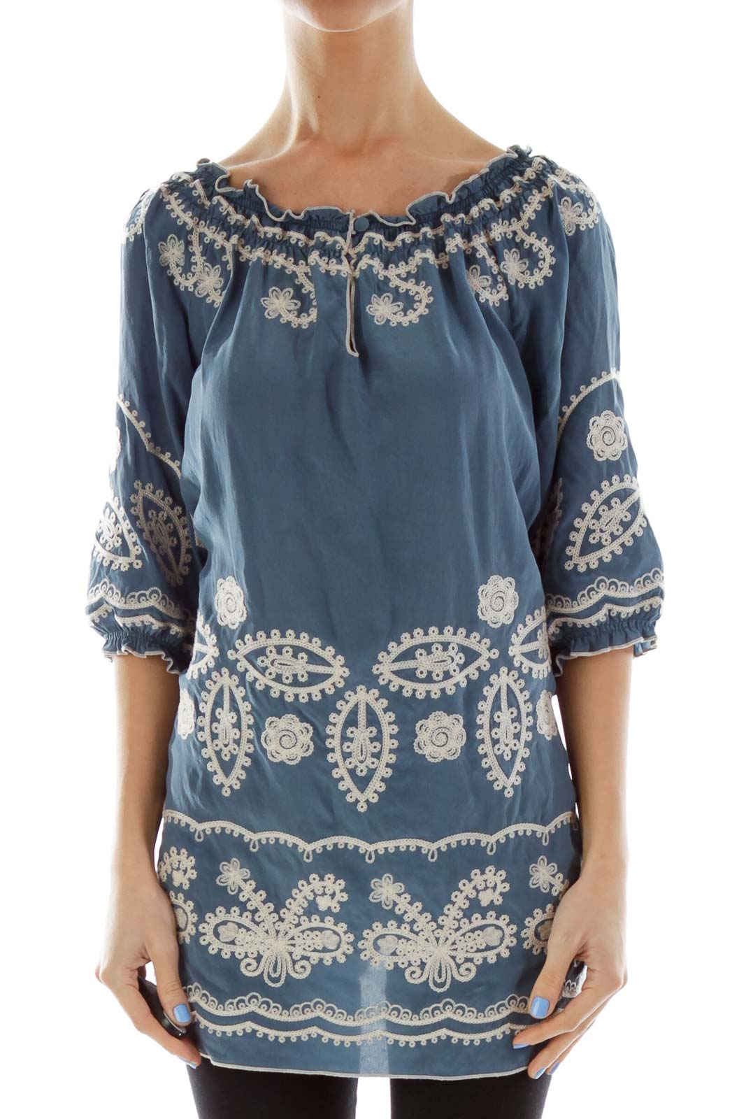 Blue Embroidered Doll Top