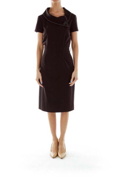Black White Buttoned Dress