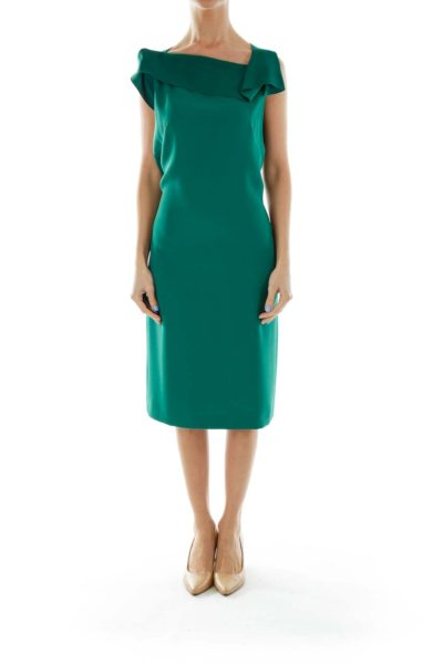Green Fitted Work Dress