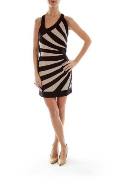 Black Beige Striped Halter Dress