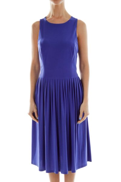 Blue Pleated Sleeveless Dress