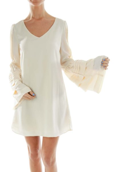 Cream Bell-Sleeve Top