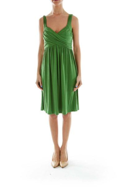 Green Scrunched Top Tent Dress