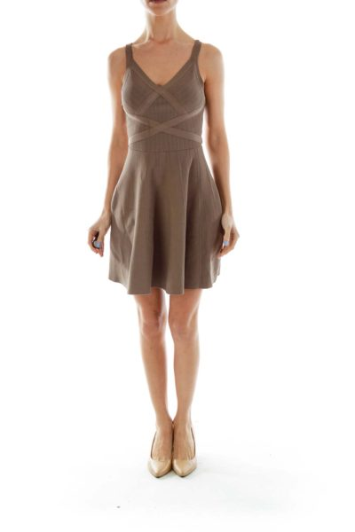 Taupe Flared Cocktail Dress