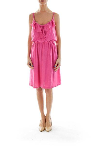 Pink Ruffled Jersey Dress