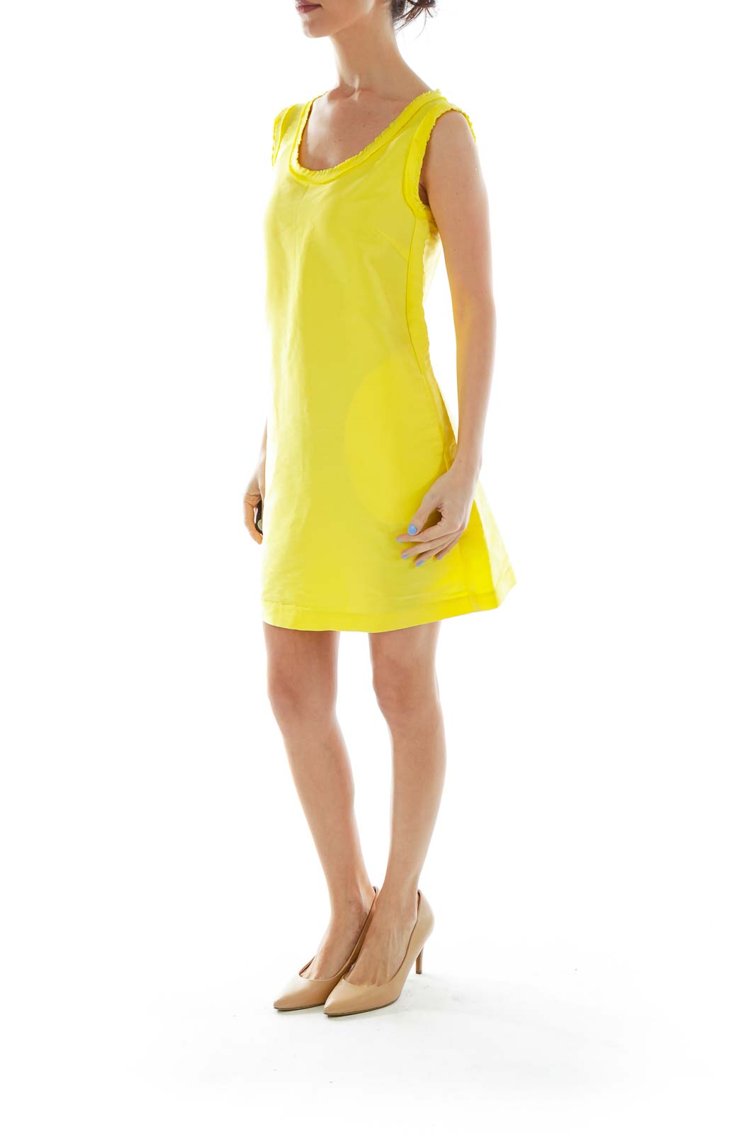Yellow Round Neck Shift Dress