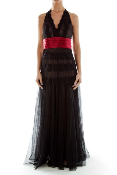 Black Red Halter Gown