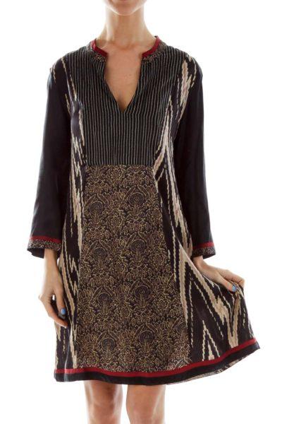 Multicolor V-Neck Shift Dress