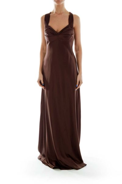 Brown Satin Evening Gown