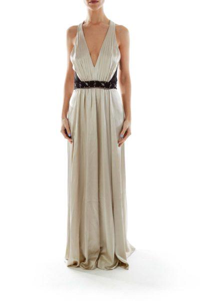 Beige Silk Beaded Evening Gown
