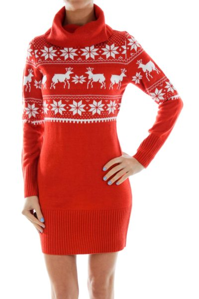 Red Knit Holiday Dress
