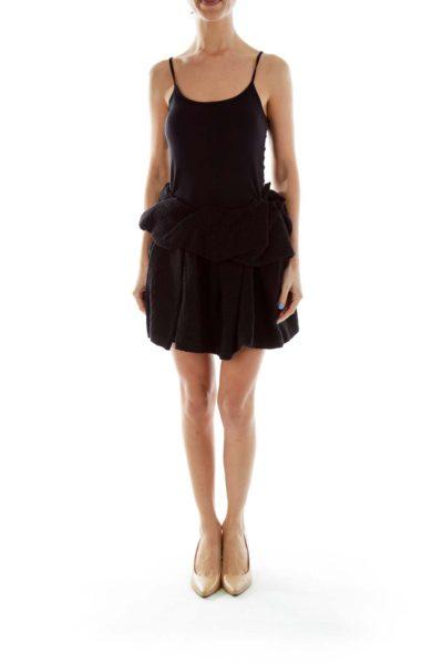 Black Textured Layered Mini Skirt