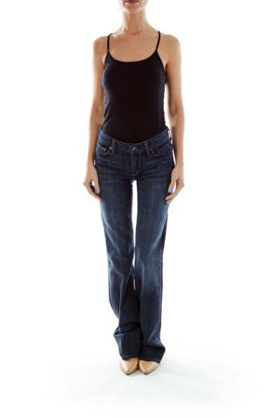 Blue Denim Boot-Cut Jeans